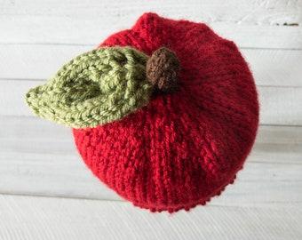 Hat - Apple Hat - Apple - Apple Cider - Fruit - Fall - Newborn Prop - Apple Prop - Produce - Red Apple - Baby Wear - Costume - Newborn