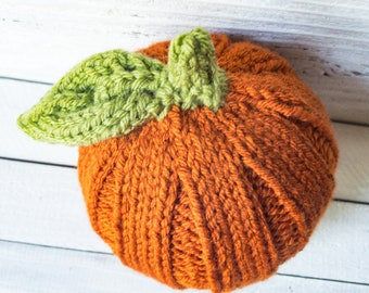 Hat - Pumpkin Hat - Pumpkin - Pumpkin Spice - Fall - Newborn Prop - Halloween - Baby Wear - Costume - Newborn - Jack O Lantern