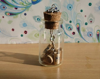 A Key to Life, Love & Hope, Glass Bottle Necklace Charm