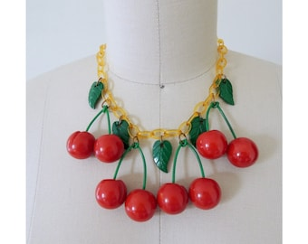 RESERVED - Authentic bakelite cherry necklace | vintage bakelite cherries celluloid leaves applejuice bakelite fruit jewelry choker bib