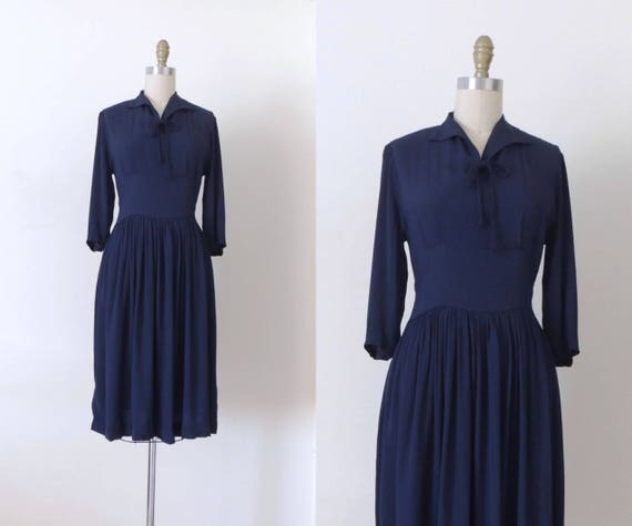 Vintage 1940s navy blue rayon dress | 40s rayon dr