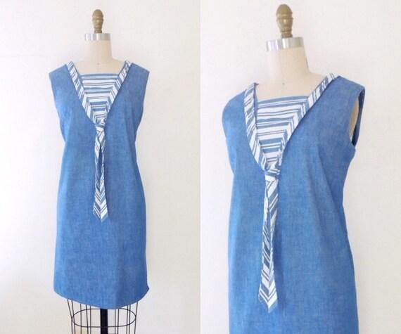 Vintage 1960s sailor shift dress   60s mod shift d