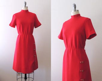 Vintage 1960s red wool scooter dress with mock turtle neck and gold buckles | 60s mod scooter dress | short sleeve shift | fit and flare | S