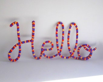 Custom wire name, Name wall hanging, French knit nursery decor, Wire wall art, yarn word, Custom wire sign, Wire word wall art, Wire decor
