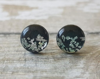 Black and silver earrings, Black studs silver, Silver glitter earrings black studs, Christmas gifts for friends birthday gift jewelry black