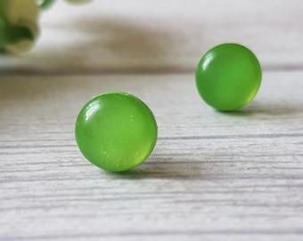 Green stud earrings, Simple earrings for sensitive ears, Green studs, Green earrings minimalist, Everyday earrings, 2017 trends, Green posts