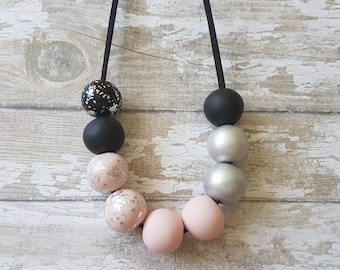 Pink and black necklace, Bold chunky necklace, Statement necklace pink, Pink chunky necklace modern, Beautiful necklace gift idea for her