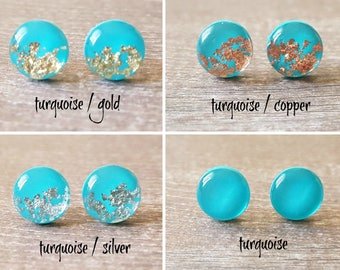 Turquoise stud earrings minimalist, Modern earrings turquoise, Christmas gift for friend, Stocking stuffers for women, Beautiful earrings