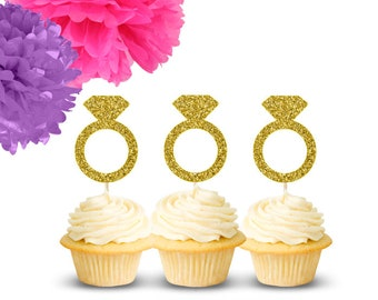 Ring Cupcake Toppers (Set of 12), Wedding Cupcake Toppers, Bridal Shower Cupcake Toppers, Engagement Party, Bachelorette Party, Diamond Ring