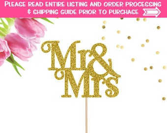 Mr and Mrs Cake Topper, Mr & Mrs Cake Topper, Wedding Cake Topper, Wedding Decor, Bridal Shower, Engagement Party Cake Topper, We're Engaged