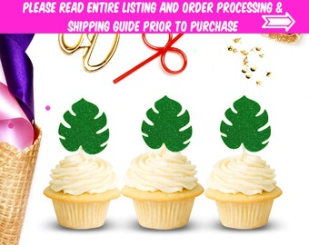 Monstera Leaf Cupcake Toppers (Set of 12), Birthday Party, Cupcake Toppers, Palm Leaf, Luau Party, Birthday, Tropical Party, Moana Party,