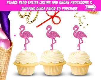 Flamingo Cupcake Toppers (Set of 12), Let's Flamingle, Cupcake Toppers, Flamingo Party, Flamingo Birthday, Baby Shower, Party Supplies