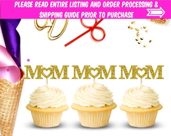 Mom Cupcake Toppers (Set of 12), Cupcake Toppers, Mother's Day, Baby Shower, Party Decor, Birthday, Happy Birthday, Toppers, Heart, Mother