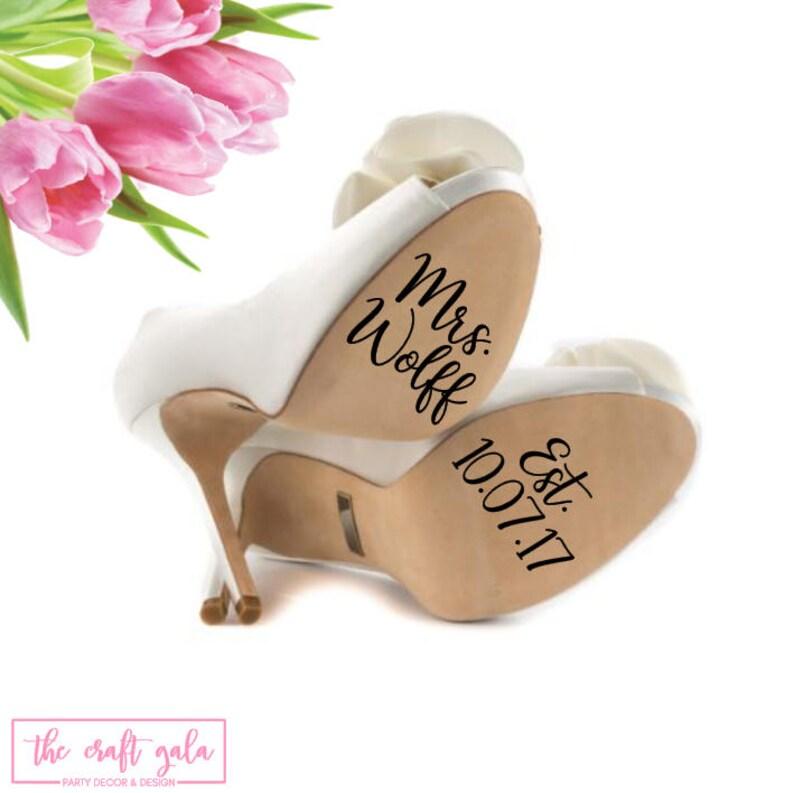 88a72db59ca2 Personalized Wedding Shoe Decal Wedding Vinyl Decal Wedding
