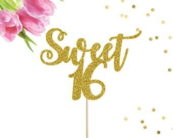 16th Birthday Cake Topper, Sweet 16 Cake Topper, Birthday Cake Topper, Happy Sweet 16, Sweet Sixteen, Cake Topper, 16th Birthday, Sweet 16