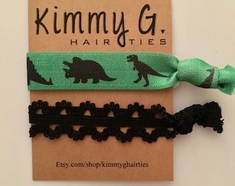 Dinosaur elastic hair ties. FOE, dinosaur birthday party favors. Kids hair ties, hair tie set, animal hair ties, dinosaur accessories