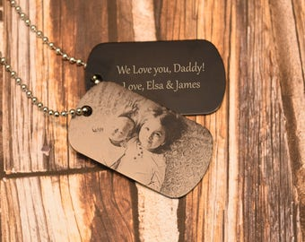 48e63b7c7c CUSTOM Photo Dog Tag ~ Family ~ FREE SHIPPING ~ Spouse Wife Husband Gift,  Navy, Army, Marines, Air Force, Military Dog Tag Necklace Keychain