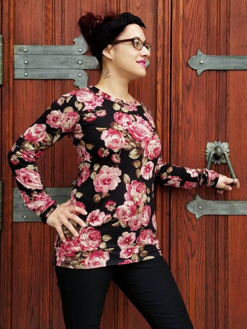 made of double brushed polyester woman pink flowers small size to XXL Vintage flower tunic sweater black background tunic