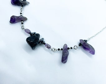 Amethyst and Black Tourmaline Gemstone Bar Necklace | Gift for Her | Crystal Necklace | Bridesmaid Gift | Birthday Gift | Crystal Gift