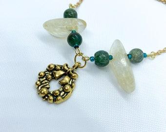 Citrine & Emerald Green Aventurine Necklace | Gemstone Necklace | Crystal Necklace | Birthday Gift | Bridesmaid Gift | Crystal Gift