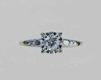 Vintage 1940s European Cut Diamond Engagement Ring .27ct