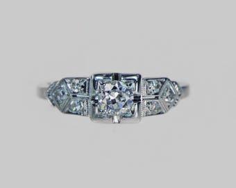 Vintage 1930s European Cut Diamond Engagement Ring With Art Deco Design .26 ct