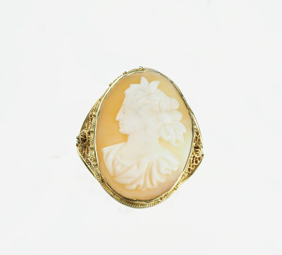 Vintage 1970's 14k Yellow Gold Cameo Ring