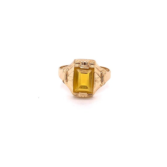 Vintage 1940's 10k yellow gold yellow stone ring