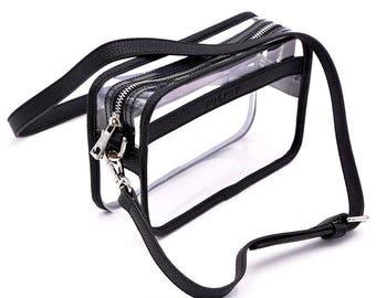 Clear Box Handbag - Black- Clear Purse- Stadium Bag- Gameday- Bag Policy- Lucite- Clear Handbags- Clear Bag -Clear Bag Policy -Travel Bag