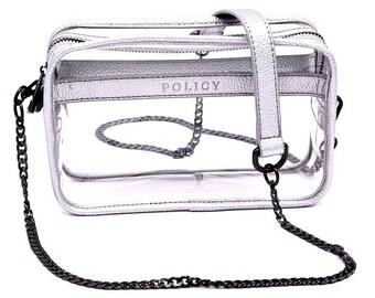 Clear Box Handbag- Silver- Clear Purse- Stadium Bag- Gameday- Bag Policy- Lucite- Clear Handbags- Clear Bag -Clear Bag Policy -Travel Bag