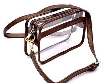 Clear Box Bag - Copper- Clear Purse- Stadium Bag- Gameday- Bag Policy- Lucite- Clear Handbags- Clear Bag -Clear Bag Policy -Travel Bag