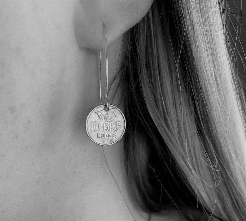 NORWAY Coin Earrings  Various Years 10 ore Norwegian image 0