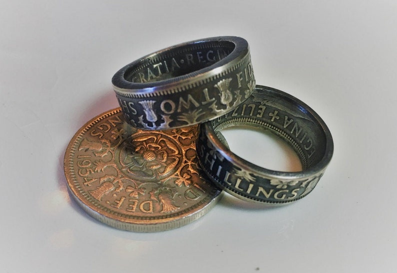 COIN RING  British 2 Shillings Great Britain England image 0