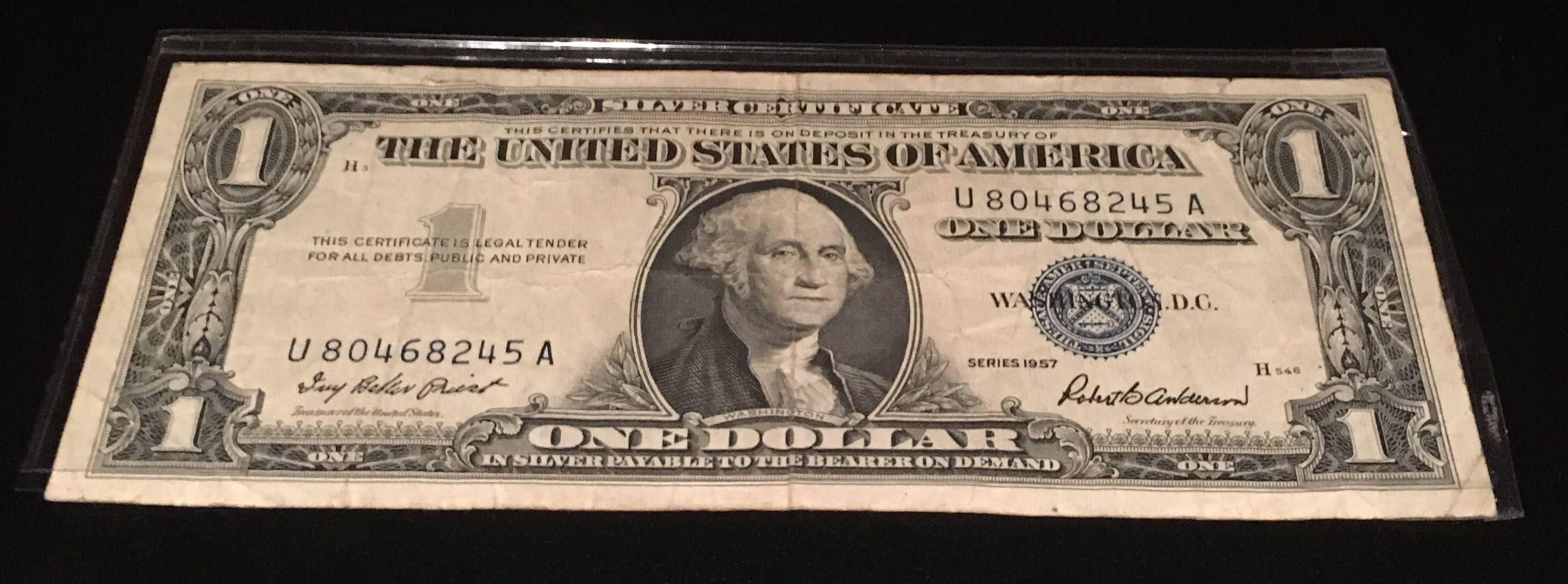 1957 Blue Seal Certificate Blue Seal One Dollar Bill Free