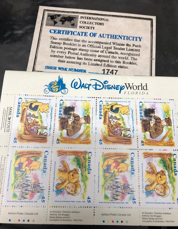 Walt Disney World Winnie The Pooh Stamp Booklet Canada