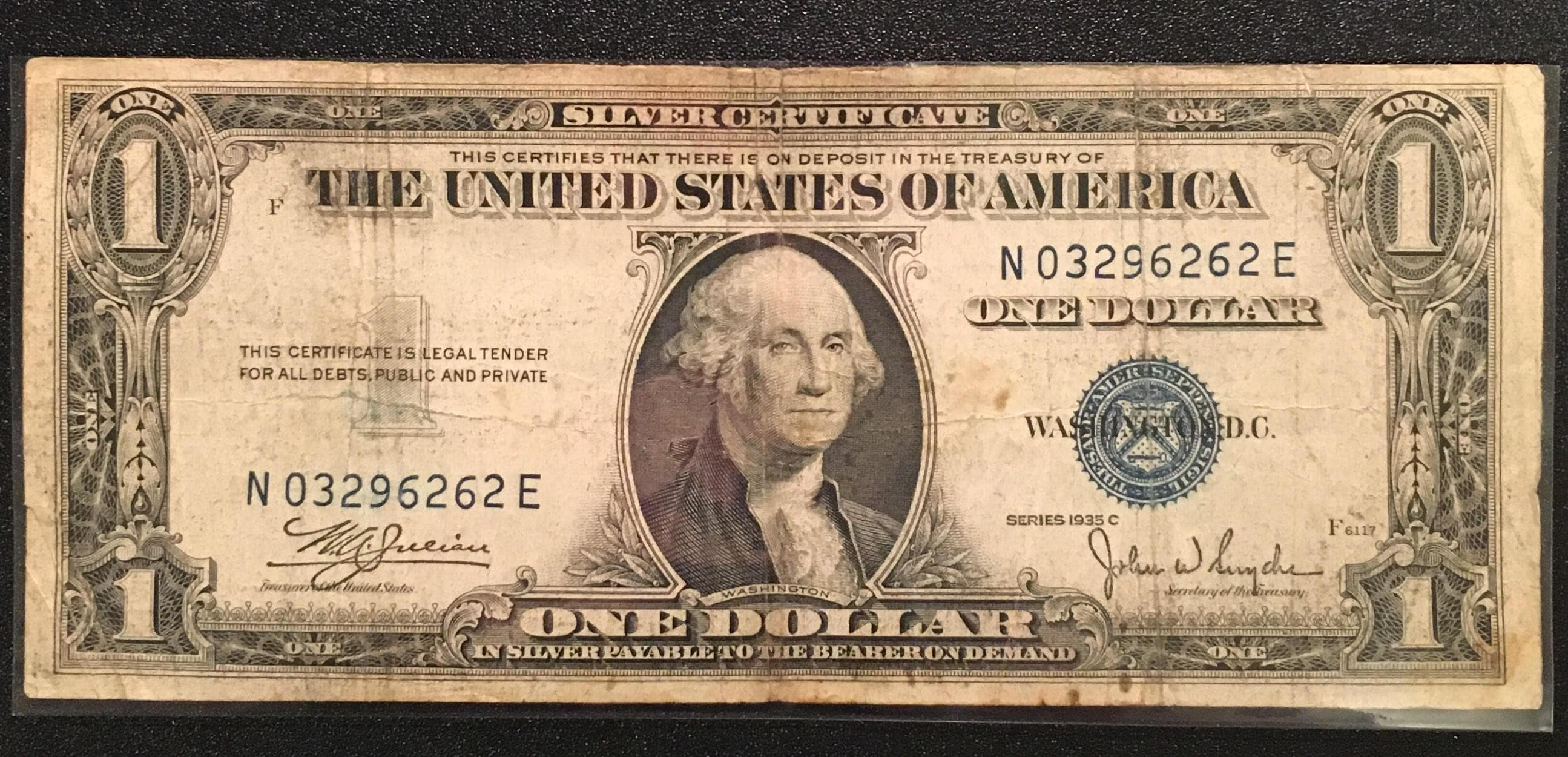 1935 C Blue Seal One Dollar Bill Blue Seal Us Currency Etsy