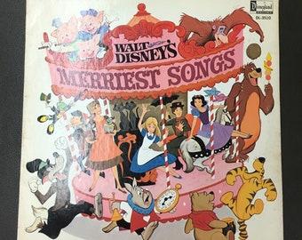 1968 Walt Disney's Merriest Songs DL-3510 Vinyl LP Album; Pinocchio; Jungle Book; Three Litle Pigs