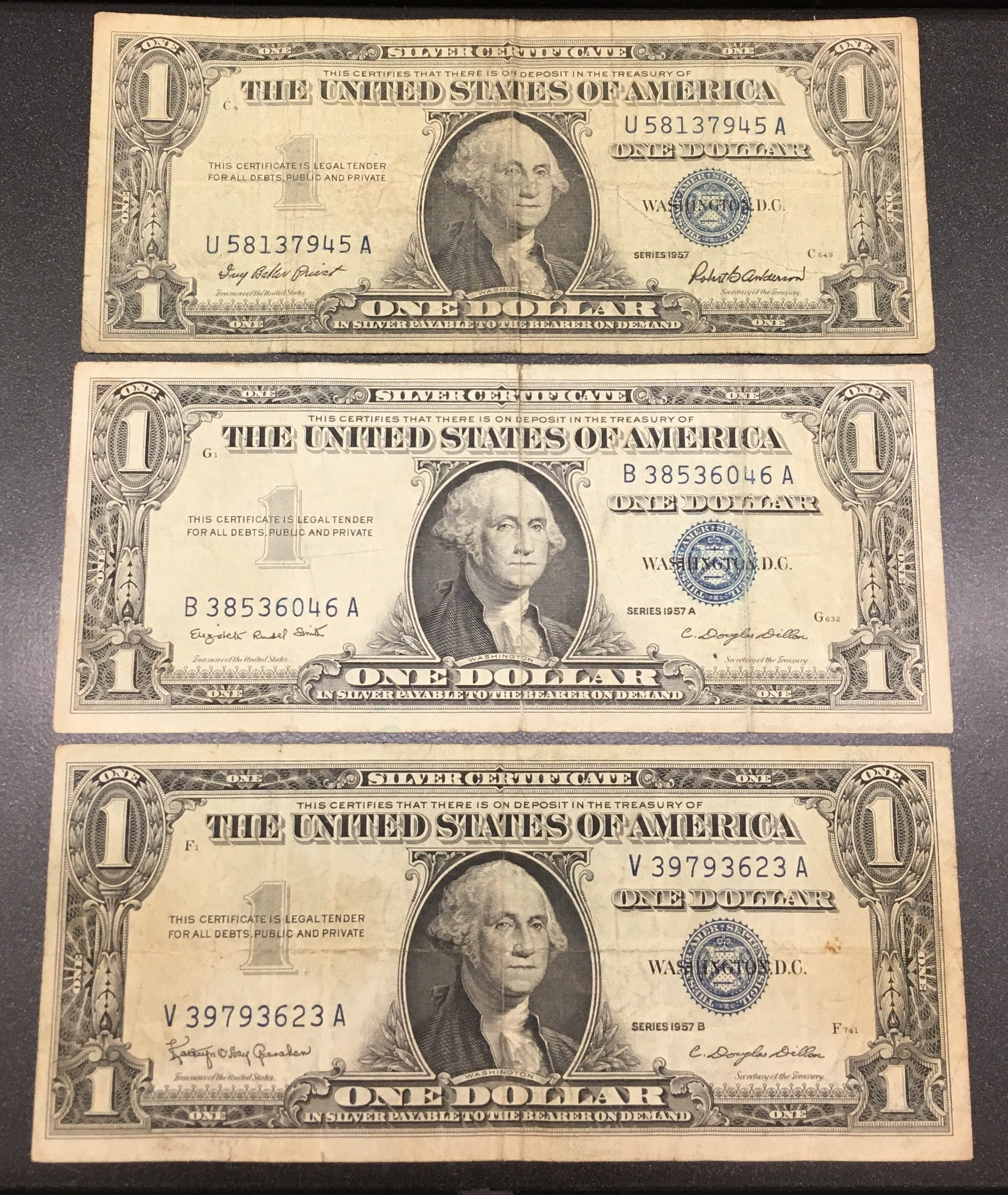 1957 Silver Certificates 1957 A 1957 B Blue Seal Dollar Etsy