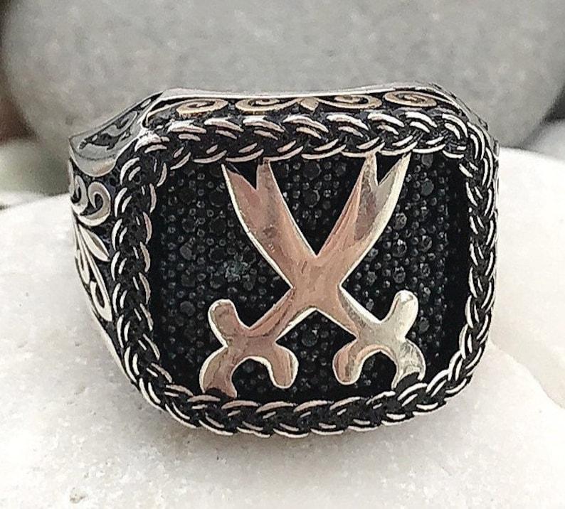 Handgemacht Neues Design 925 Sterlingsilber Schwarzer Achat Stein Herren Damen Ringe Herrenschmuck