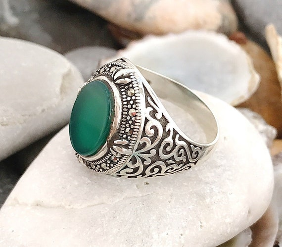 Cat/'s Eye /& Marcasite Ring Rose Gold over .925 Sterling Silver