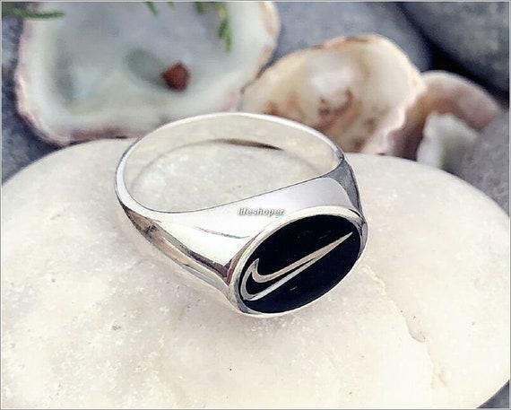 Handmade 925 Sterling Silver Nike Ring with Black Enamel Nike Logo Men's Woman's Ring