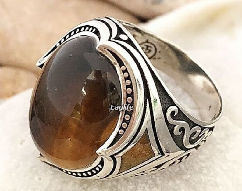 STUNNING 925 STERLING SILVER AND TIGER/'S EYE RING SIZE J1//2 X