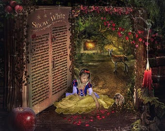 2 digital backgrounds, Snow White magical book, with and without text, so you can add your own!  for fantasy and fairy tale photography !