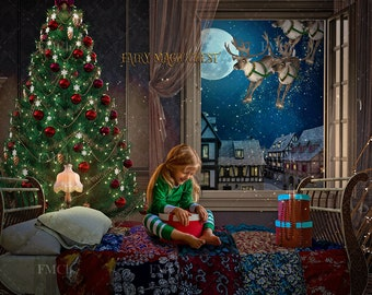 Christmas digital backdrop / background, reindeers view from window, digital background for photography and Photoshop.