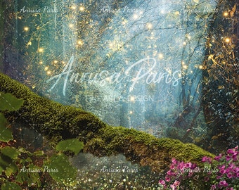 2 Digital backgrounds fairy forest, branch with moss , digital backdrop ideal to place your fairy , get a magical scene, enchanted forest.