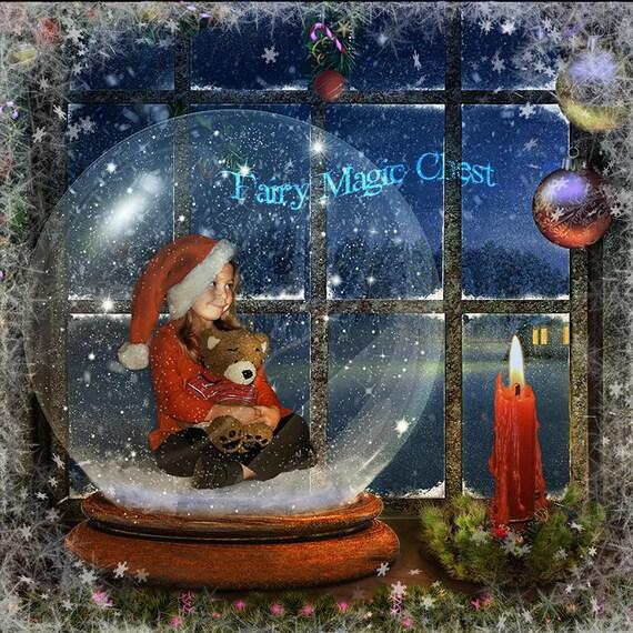 Snow Globe Digital Backdrop By The Window 3 Files Christmas Etsy