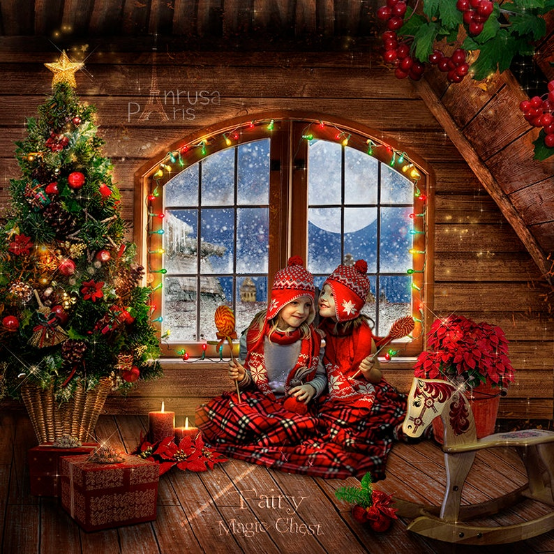 Christmas Attic.2 Christmas Attic Digital Backgrounds 2 Versions With Or Without Santa Christmas Backdrops For Kids Photography Snow Winter