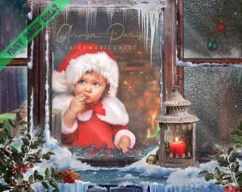 Snowy window - Christmas Digital Background / Backdrop . Back interior and window overlay to place over your model. 2 files.