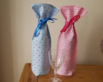 Spotty Fabric Bottle Bags