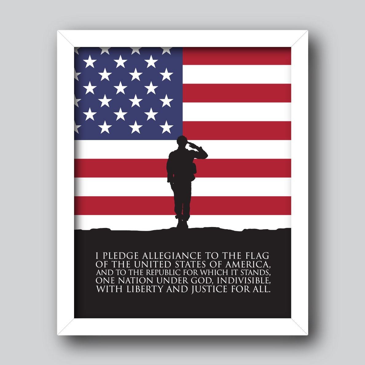 Pledge Of Allegiance Us Flag Patriotic Printable 4th Of Etsy